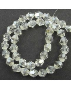 White AB  Faceted Glass Beads 8mm BICONE