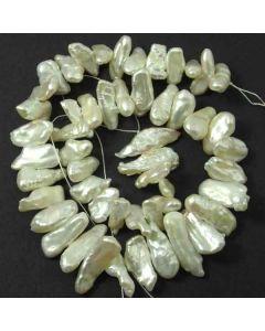 Natural Biwa Stick Pearls White 6x22mm approx