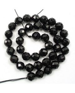 Black Onyx 10mm Faceted Round Beads