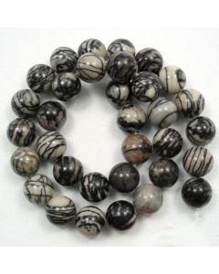 Black Veined Jasper 12mm Round Beads