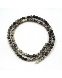 Black Veined Jasper 4mm Round Beads