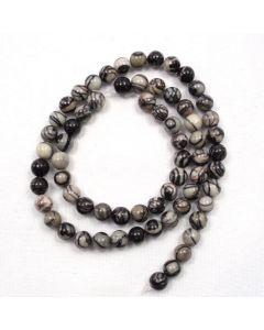 Black Veined Jasper 6mm Round Beads