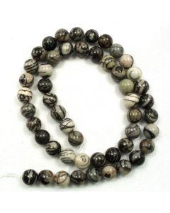 Black Veined Jasper 8mm Round Beads