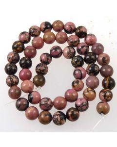 Rhodonite Black Veined 7.5-8mm Round Beads