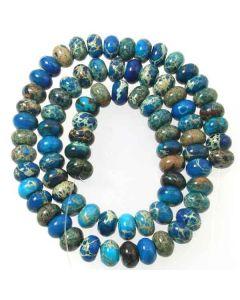 Impression Jasper (Dyed Mid Blue) 5x8mm Rondelle Beads