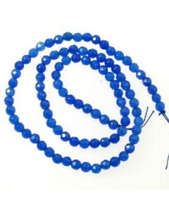 Jade (Mid Blue) Dyed 4mm Faceted Round Beads