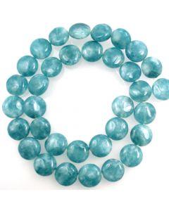Blue Sponge Quartz (dyed) 12mm Coin Beads