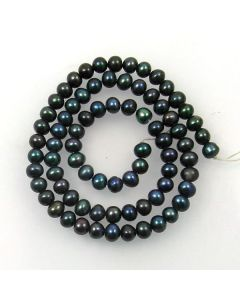 Natural Freshwater Button Pearl Peacock Blue 5mm