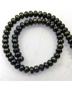 Natural Freshwater Button Pearl Peacock Black 8mm