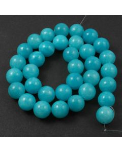 Mashan Jade (dyed Bright Turquoise) 12mm Round Beads