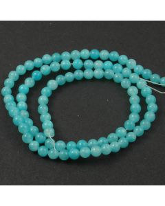 Mashan Jade (dyed Bright Turquoise) 4mm Round Beads