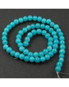 Mashan Jade (dyed Bright Turquoise) 6mm Round Beads