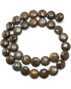 Bronzite 12mm Coin Beads