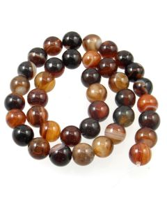 Brown Striped Agate 10mm Round Beads