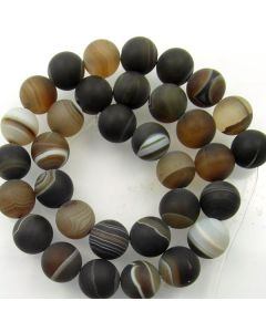 Brown Striped Agate 12mm FROSTED Round Beads