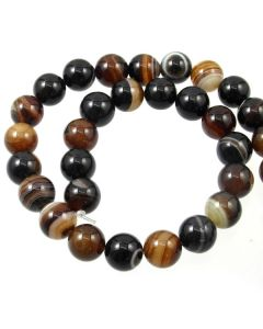 Brown Striped Agate 12mm Round Beads