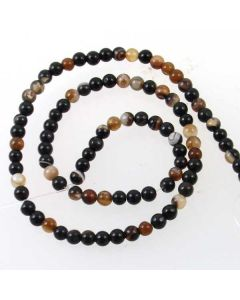 Brown Striped Agate 4mm Round Beads