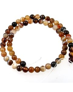 Brown Striped Agate 6mm Round Beads