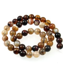 Brown Striped Agate 8mm Round Beads