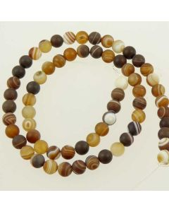 Brown Striped Agate 6mm FROSTED Round Beads