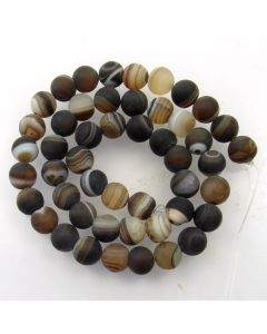 Brown Striped Agate 8mm FROSTED Round Beads