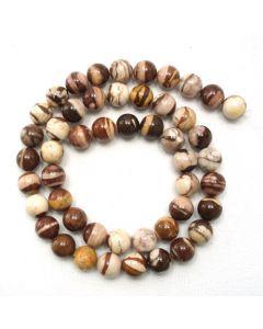 Brown Zebra Jasper 8mm Round Beads