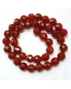 Carnelian 10mm Faceted Round Beads