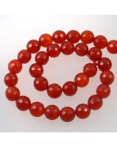 Carnelian 12mm Faceted Round Beads