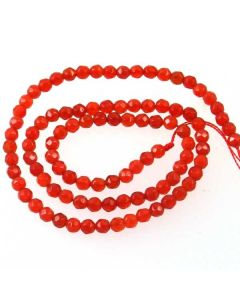Carnelian 4mm Faceted Round Beads