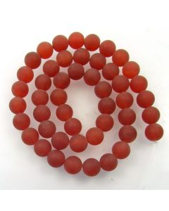 Carnelian 8mm FROSTED Round Beads