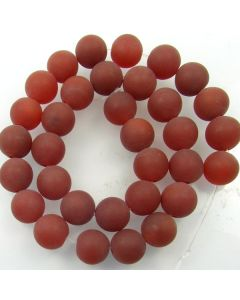 Carnelian 12mm FROSTED Round Beads