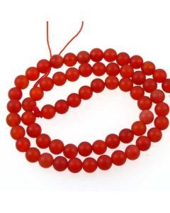 Carnelian 6mm FROSTED Round Beads
