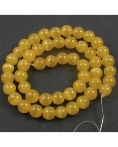 Cats Eye Beads - 7.5mm Amber Yellow