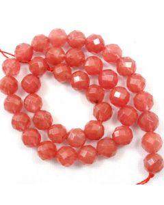 Cherry Quartz 10mm Faceted Round Beads