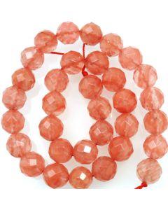 Cherry Quartz 12mm Faceted Round Beads
