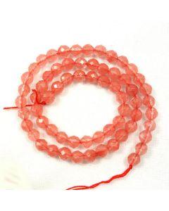 Cherry Quartz 6mm Faceted Round Beads