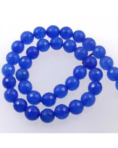 Jade (Cobalt Blue) Dyed 10mm Faceted Round Beads