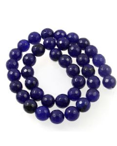 Jade (Dark Blue) Dyed 10mm Faceted Round Beads
