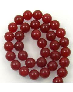 Malay Jade (Dyed Deep Red Quartzite) 12mm Round Beads