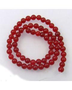 Malay Jade (Dyed Deep Red Quartzite) 6.5mm Round Beads