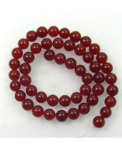 Malay Jade (Dyed Deep Red Quartzite) 8mm Round Beads