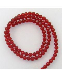 Malay Jade (Dyed Deep Red Quartzite) 4mm Round Beads