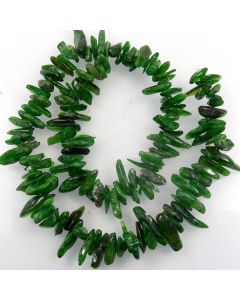 Green Diopside Long 10-20mm Chip Beads