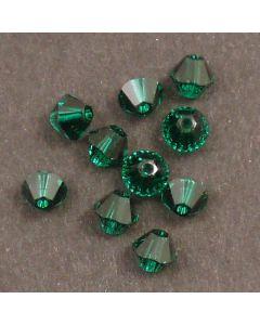 Swarovski® 4mm Emerald Bicone Xilion Cut Beads (Pack of 10)