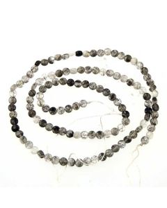 Tourmalinated Quartz 3.4mm (approx) faceted Coin Beads