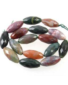 Fancy Jasper 12x25mm Faceted Rice Beads