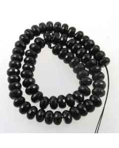 Black Onyx 6x10mm Faceted Rondelle Beads