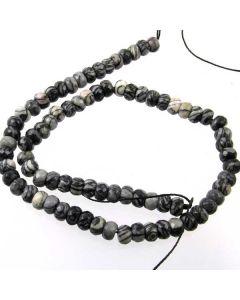 Black Veined Jasper 5x8mm Faceted Rondelle Beads