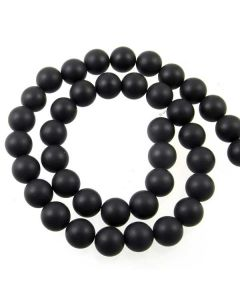 Black Onyx 10mm FROSTED Round Beads