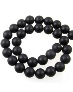Black Onyx 12mm FROSTED Round Beads